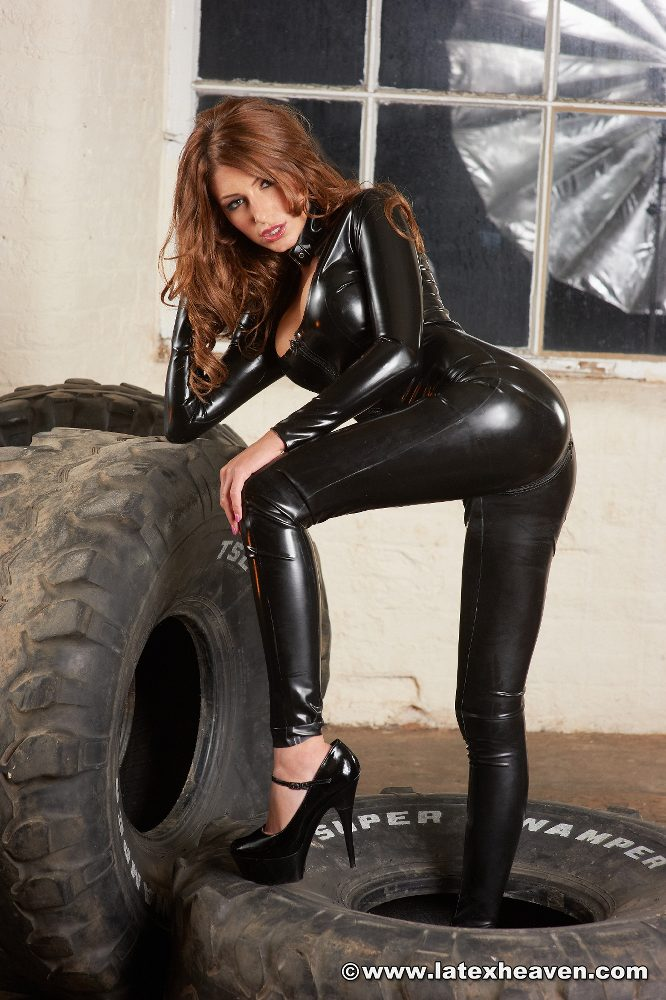 skin tight latex catsuit