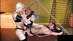 Blonde mistress fucks him with strapon