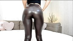 Hot webcam teen in shiny leggings with great ass tease