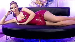 Hot blonde telephone sex girl with red leather dress